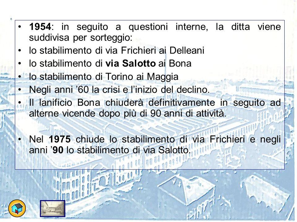 1954: in seguito a questioni interne, la ditta viene suddivisa per sorteggio: lo stabilimento di via Frichieri ai Delleani lo stabilimento di via Salotto ai Bona lo stabilimento di Torino ai Maggia Negli anni '60 la crisi e l'inizio del declino.