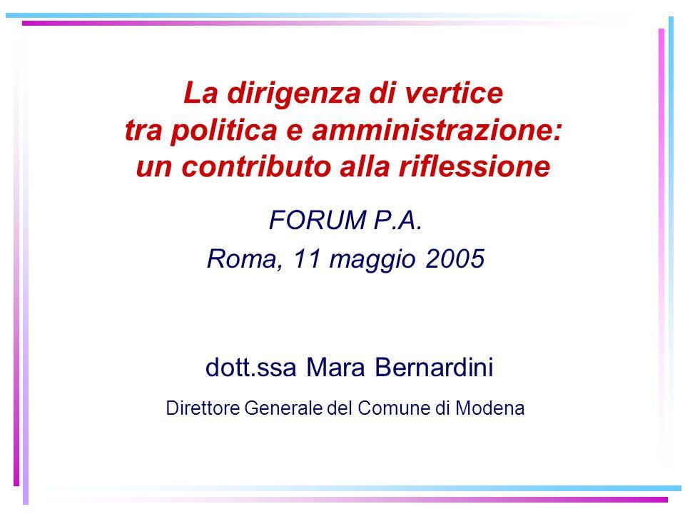 La dirigenza di vertice tra politica e amministrazione: un contributo alla riflessione FORUM P.A. Roma, 11 maggio 2005 dott.ssa Mara Bernardini Dirett