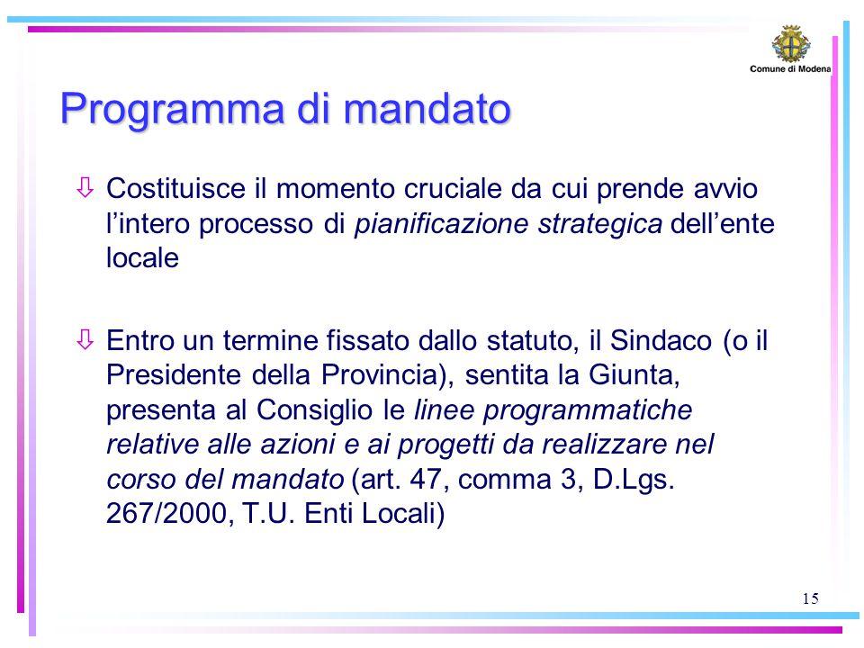 15 Programma di mandato òCostituisce il momento cruciale da cui prende avvio l'intero processo di pianificazione strategica dell'ente locale òEntro un