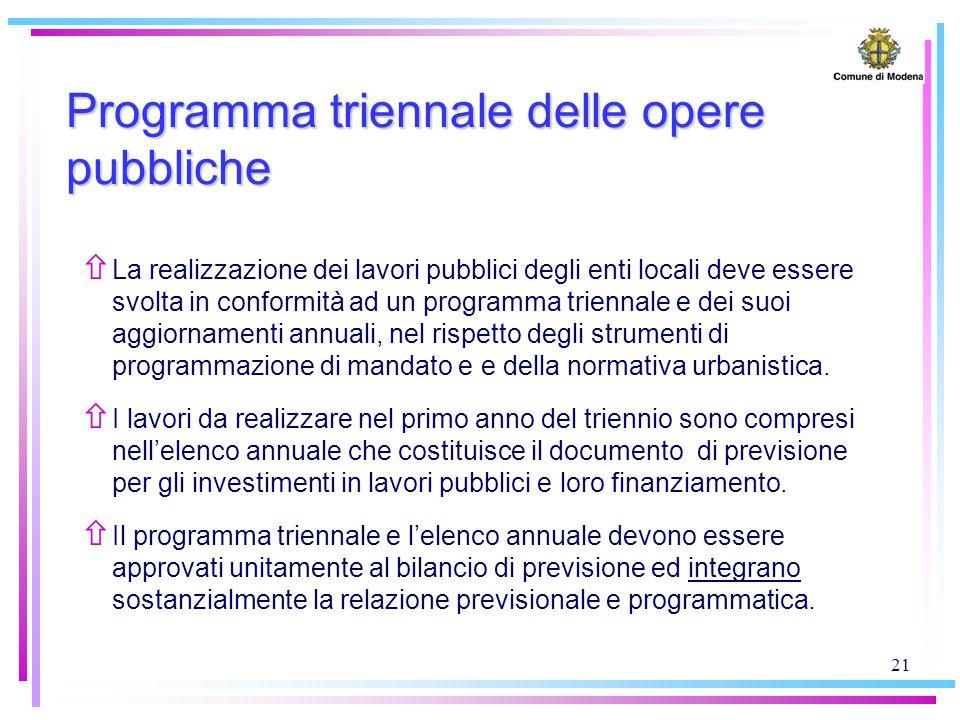 21 Programma triennale delle opere pubbliche ñ La realizzazione dei lavori pubblici degli enti locali deve essere svolta in conformità ad un programma