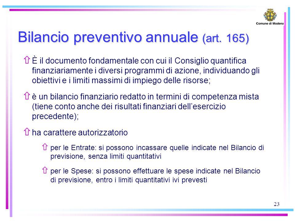 23 Bilancio preventivo annuale (art. 165) ñ È il documento fondamentale con cui il Consiglio quantifica finanziariamente i diversi programmi di azione