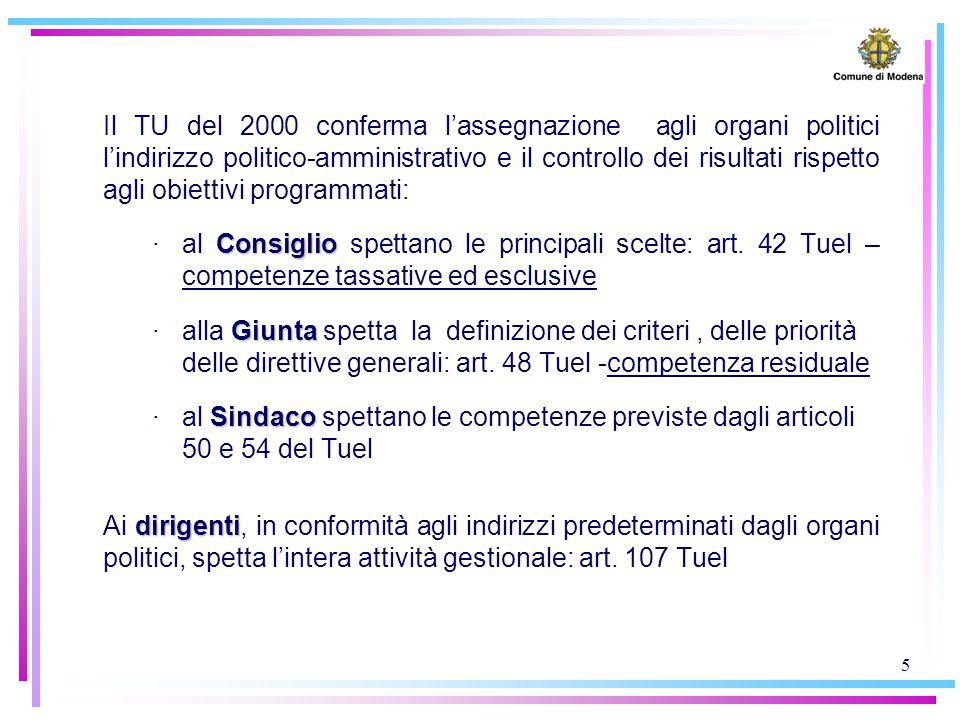 5 Il TU del 2000 conferma l'assegnazione agli organi politici l'indirizzo politico-amministrativo e il controllo dei risultati rispetto agli obiettivi programmati: Consiglio ·al Consiglio spettano le principali scelte: art.
