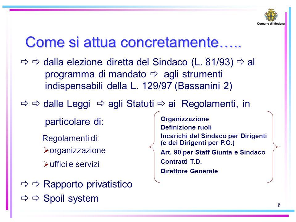 8 Come si attua concretamente…..   dalla elezione diretta del Sindaco (L. 81/93)  al programma di mandato  agli strumenti indispensabili della L.