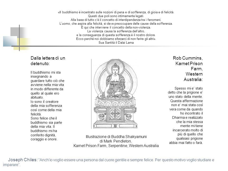 Illustrazione di Buddha Shakyamuni di Mark Pendleton, Karnet Prison Farm, Serpentine, Western Australia «Il buddhismo è incentrato sulle nozioni di pena e di sofferenza, di gioia e di felicità.