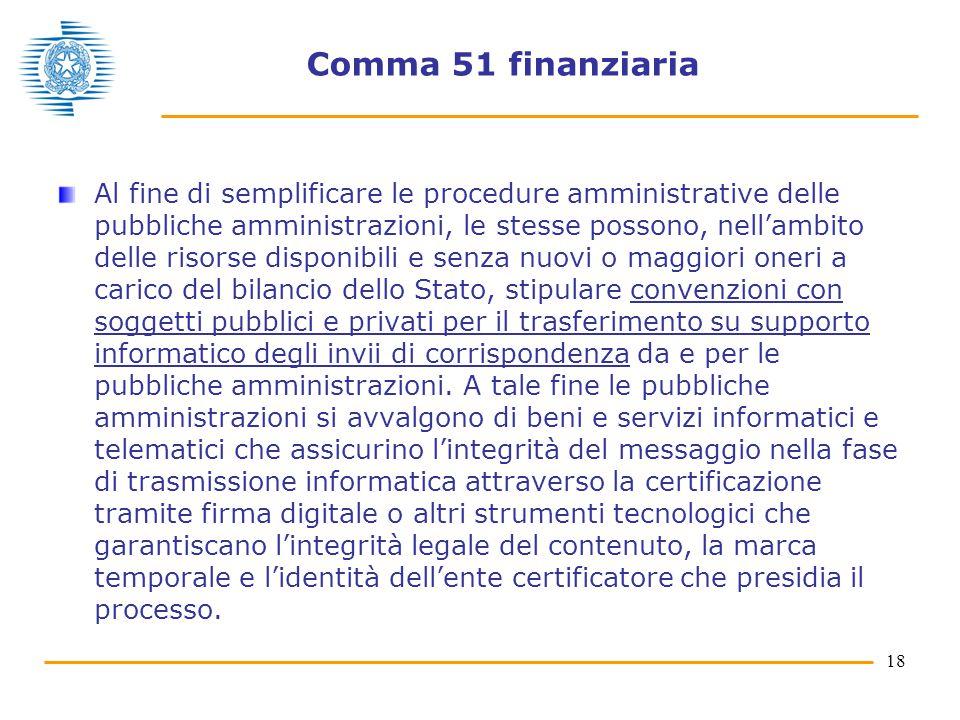 18 Comma 51 finanziaria Al fine di semplificare le procedure amministrative delle pubbliche amministrazioni, le stesse possono, nell'ambito delle riso