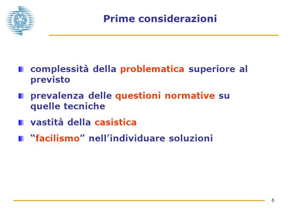 6 Prime considerazioni complessità della problematica superiore al previsto prevalenza delle questioni normative su quelle tecniche vastità della casistica facilismo nell'individuare soluzioni