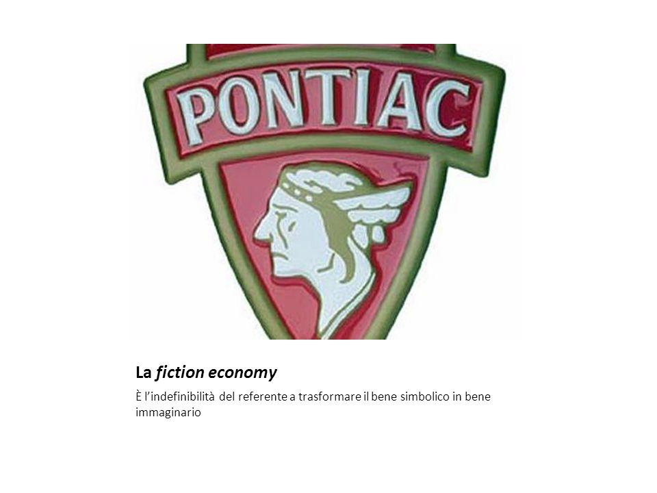 La fiction economy È l'indefinibilità del referente a trasformare il bene simbolico in bene immaginario