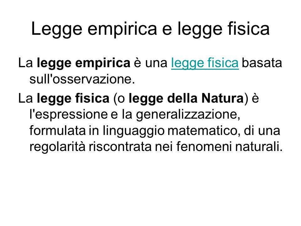 Legge empirica e legge fisica La legge empirica è una legge fisica basata sull'osservazione.legge fisica La legge fisica (o legge della Natura) è l'es
