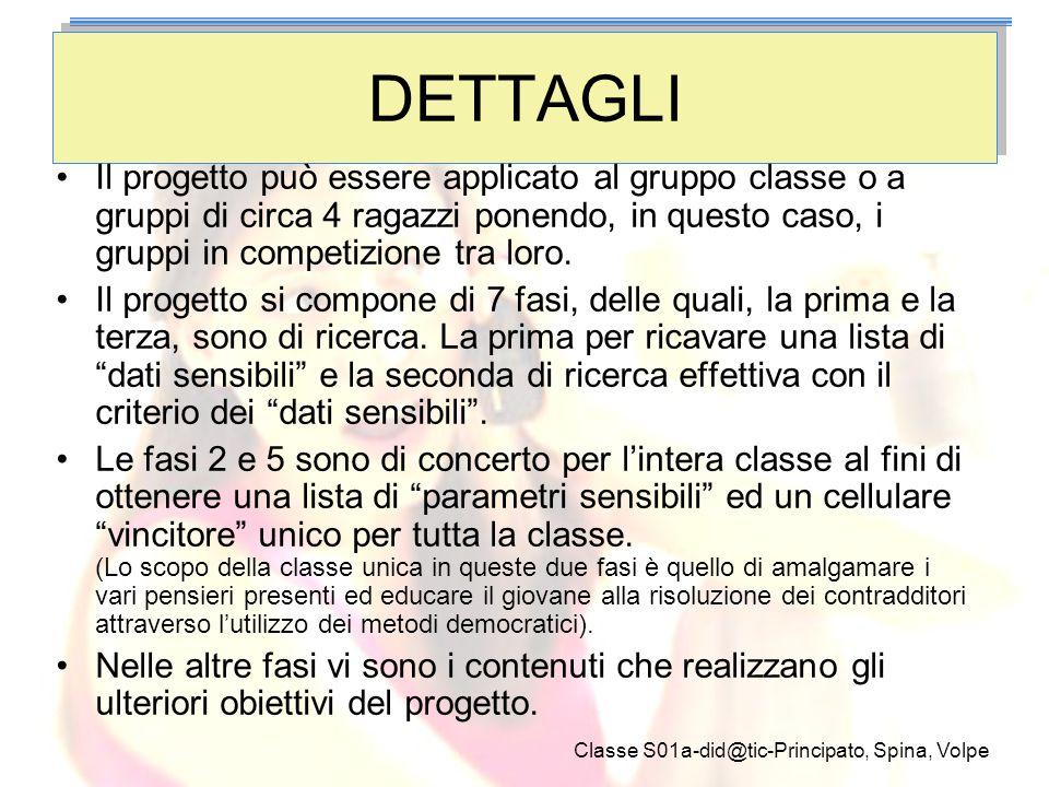 Classe S01a-did@tic-Principato, Spina, Volpe DETTAGLI Il progetto può essere applicato al gruppo classe o a gruppi di circa 4 ragazzi ponendo, in ques