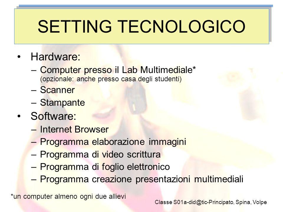 Classe S01a-did@tic-Principato, Spina, Volpe SETTING TECNOLOGICO Hardware: –Computer presso il Lab Multimediale* (opzionale: anche presso casa degli s