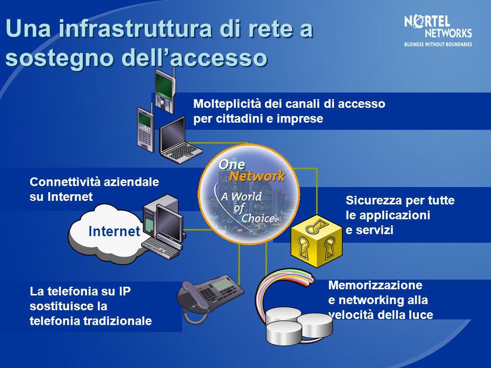 Una infrastruttura di rete a sostegno dell'accesso La telefonia su IP sostituisce la telefonia tradizionale Connettività aziendale su Internet Internet Sicurezza per tutte le applicazioni e servizi Memorizzazione e networking alla velocità della luce Molteplicità dei canali di accesso per cittadini e imprese