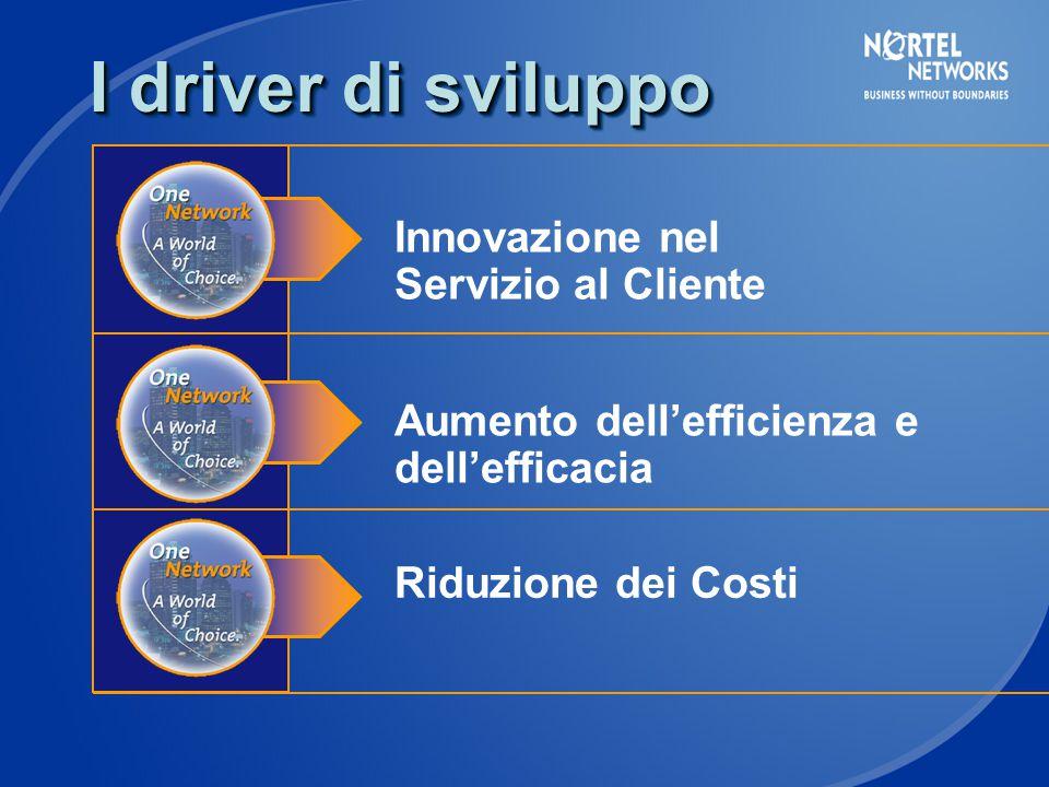 I driver di sviluppo Innovazione nel Servizio al Cliente Aumento dell'efficienza e dell'efficacia Riduzione dei Costi
