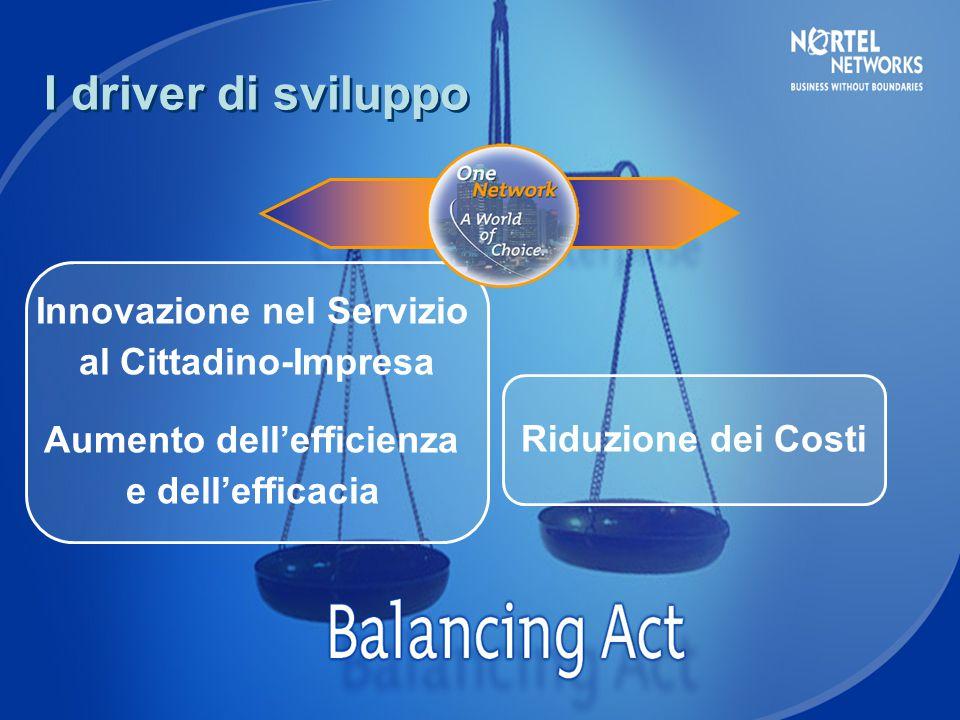 Innovazione nel Servizio al Cittadino-Impresa Aumento dell'efficienza e dell'efficacia Riduzione dei Costi I driver di sviluppo