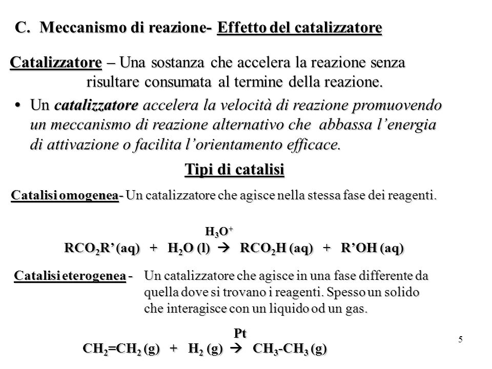 5 C.Meccanismo di reazione- Effetto del catalizzatore Catalizzatore – Una sostanza che accelera la reazione senza risultare consumata al termine della reazione.