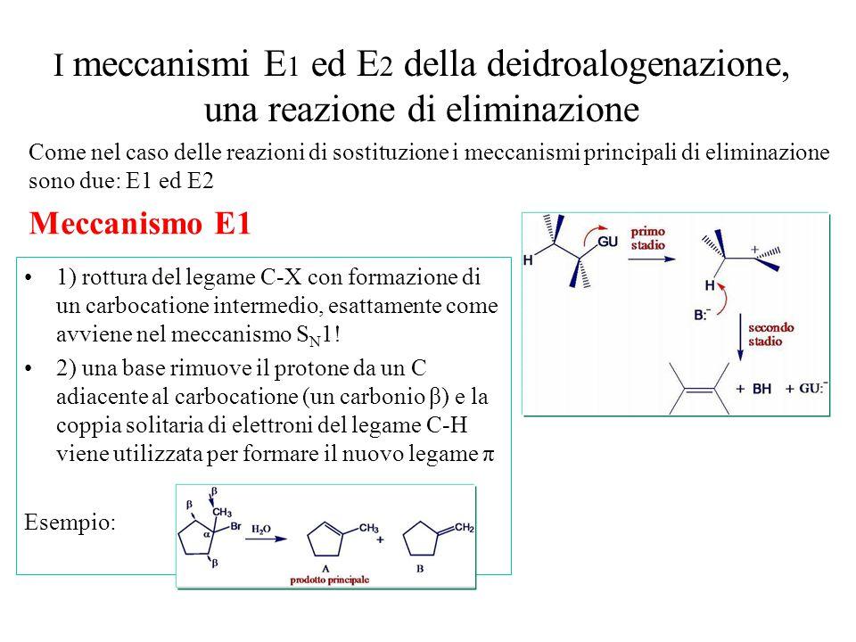 I meccanismi E 1 ed E 2 della deidroalogenazione, una reazione di eliminazione Come nel caso delle reazioni di sostituzione i meccanismi principali di eliminazione sono due: E1 ed E2 Meccanismo E1 1) rottura del legame C-X con formazione di un carbocatione intermedio, esattamente come avviene nel meccanismo S N 1.