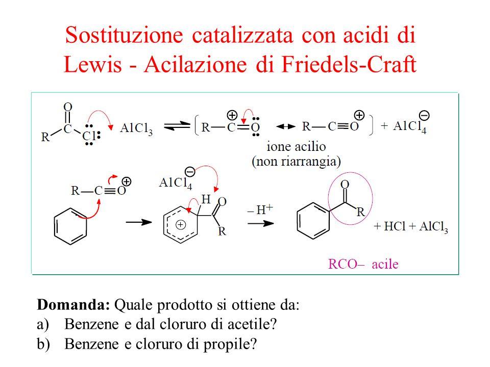 Sostituzione catalizzata con acidi di Lewis - Acilazione di Friedels-Craft Domanda: Quale prodotto si ottiene da: a)Benzene e dal cloruro di acetile.