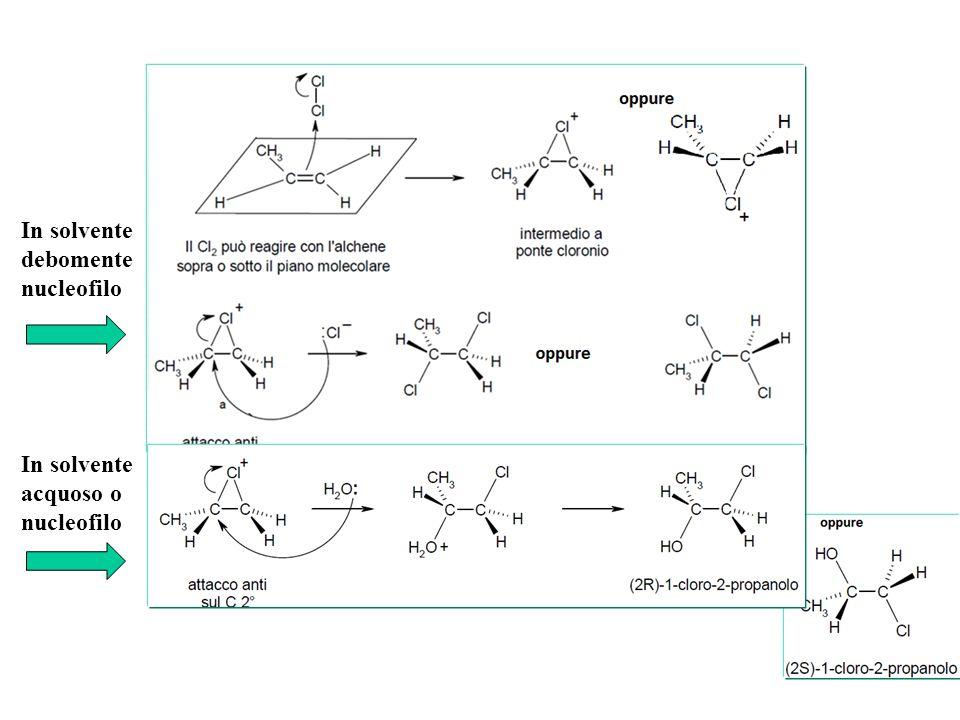 In solvente debomente nucleofilo In solvente acquoso o nucleofilo