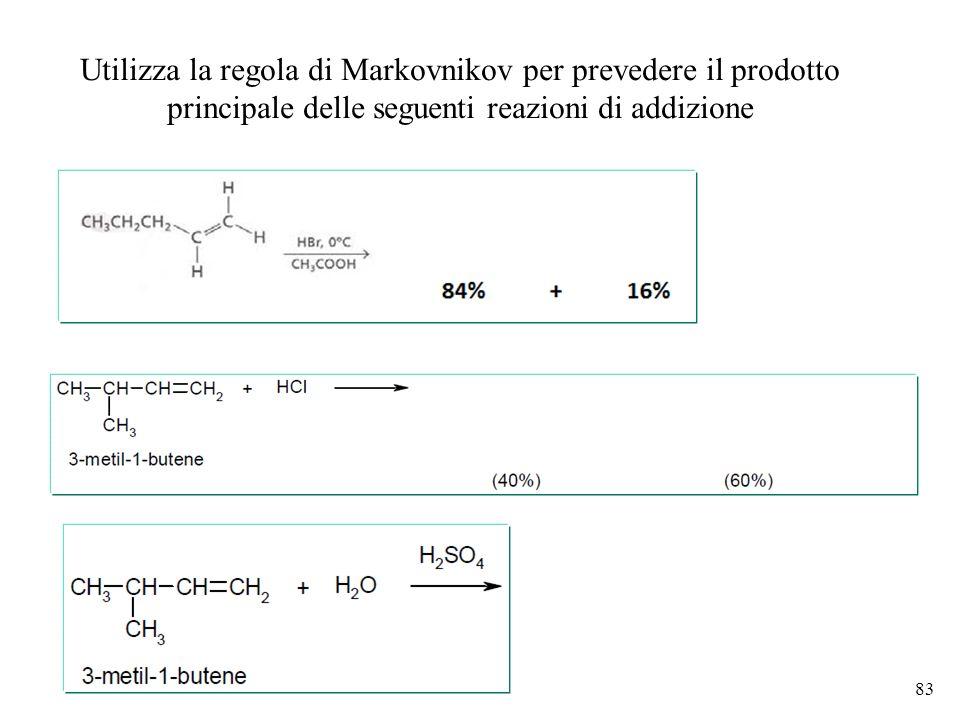 Utilizza la regola di Markovnikov per prevedere il prodotto principale delle seguenti reazioni di addizione 83