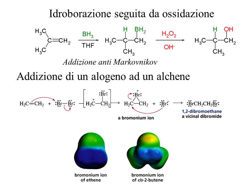 Addizione di un alogeno ad un alchene Idroborazione seguita da ossidazione Addizione anti Markovnikov