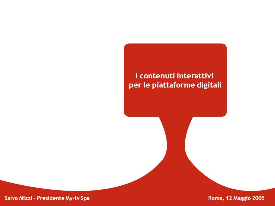 I contenuti interattivi per le piattaforme digitali Salvo Mizzi - Presidente My-tv Spa Roma, 12 Maggio 2005