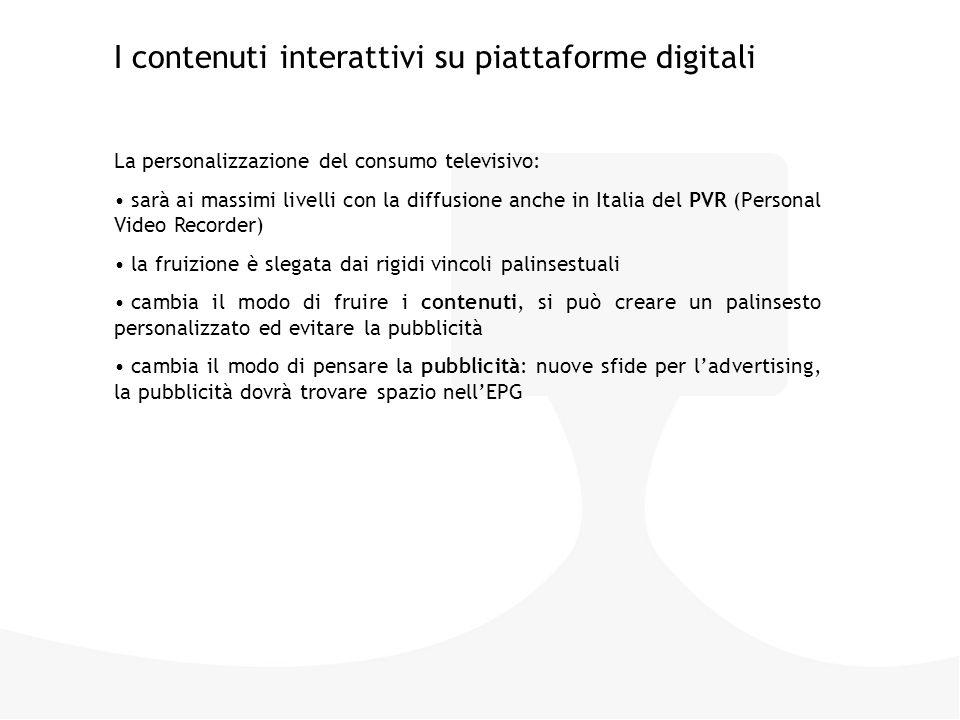 La personalizzazione del consumo televisivo: sarà ai massimi livelli con la diffusione anche in Italia del PVR (Personal Video Recorder) la fruizione è slegata dai rigidi vincoli palinsestuali cambia il modo di fruire i contenuti, si può creare un palinsesto personalizzato ed evitare la pubblicità cambia il modo di pensare la pubblicità: nuove sfide per l'advertising, la pubblicità dovrà trovare spazio nell'EPG I contenuti interattivi su piattaforme digitali