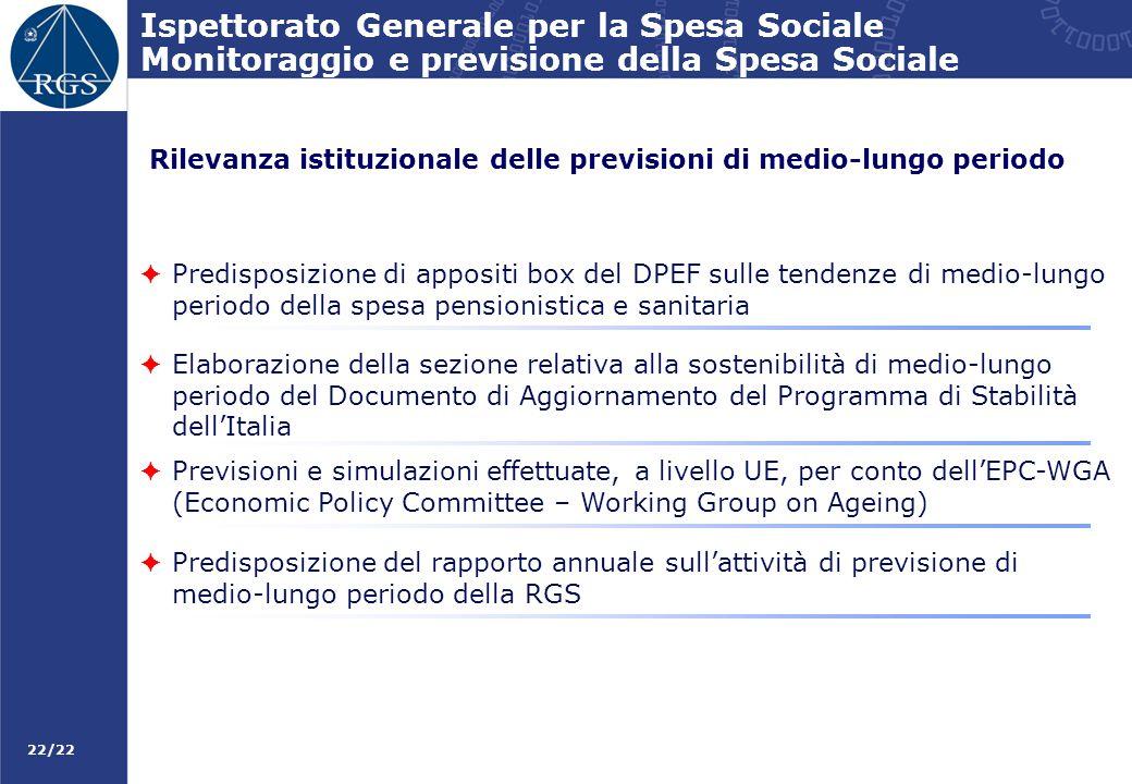 22/22 Ispettorato Generale per la Spesa Sociale Monitoraggio e previsione della Spesa Sociale Rilevanza istituzionale delle previsioni di medio-lungo
