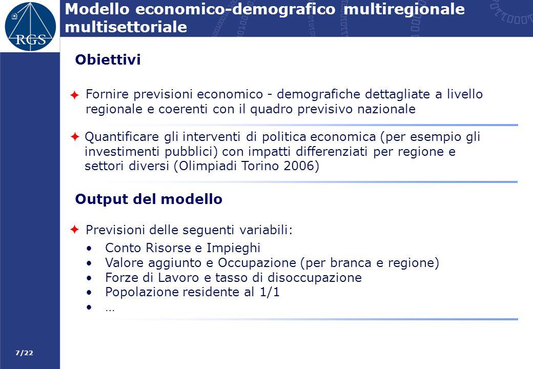 7/22 Modello economico-demografico multiregionale multisettoriale Fornire previsioni economico - demografiche dettagliate a livello regionale e coeren