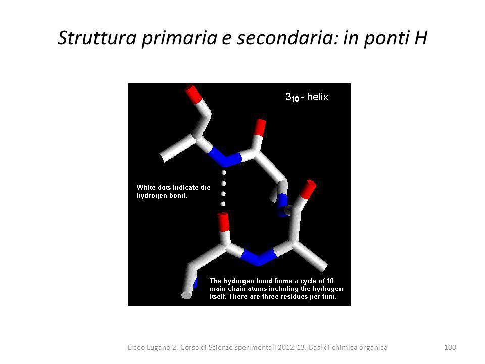 Liceo Lugano 2. Corso di Scienze sperimentali 2012-13. Basi di chimica organica100 Struttura primaria e secondaria: in ponti H