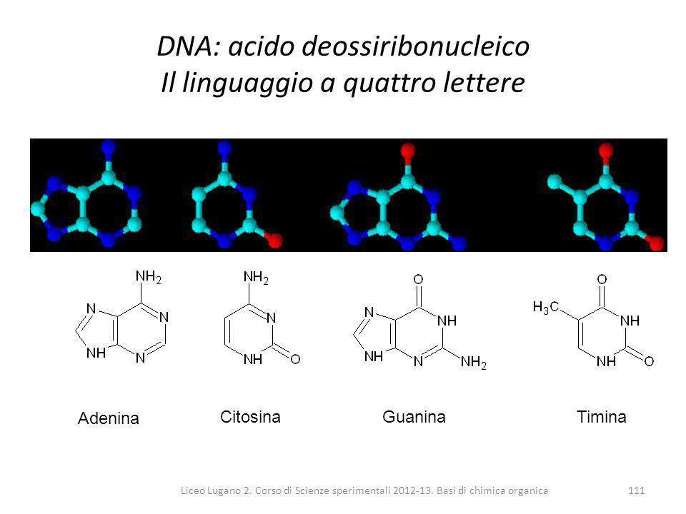 Liceo Lugano 2. Corso di Scienze sperimentali 2012-13. Basi di chimica organica111 DNA: acido deossiribonucleico Il linguaggio a quattro lettere Adeni