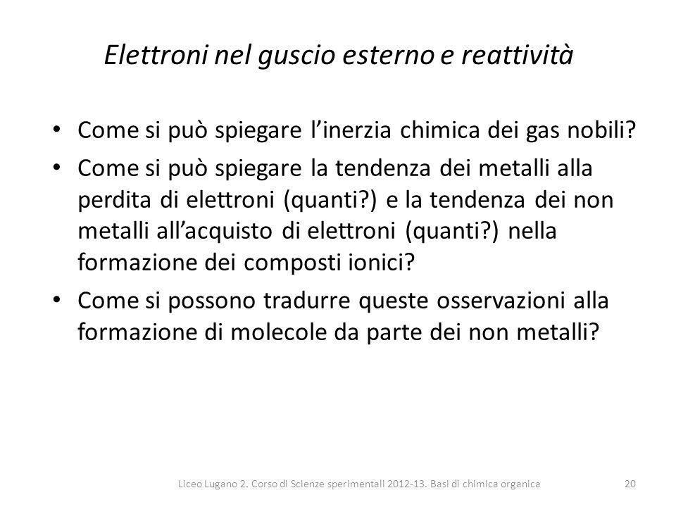 Liceo Lugano 2. Corso di Scienze sperimentali 2012-13. Basi di chimica organica20 Elettroni nel guscio esterno e reattività Come si può spiegare l'ine