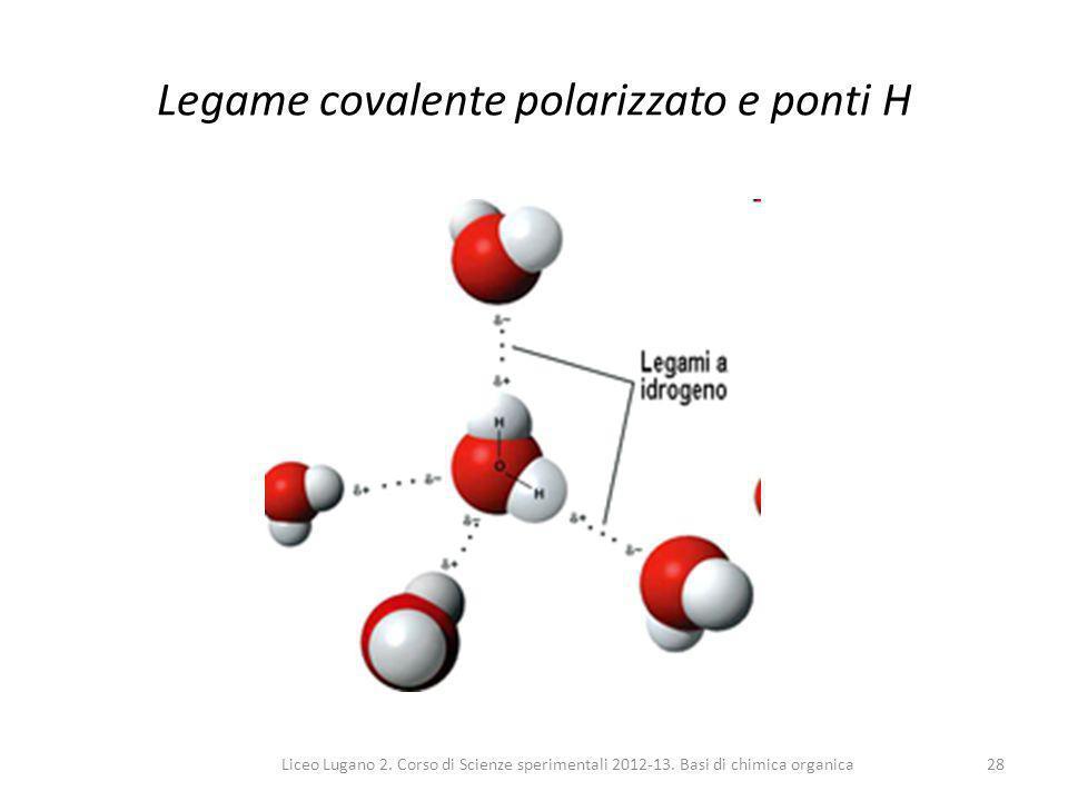 Liceo Lugano 2. Corso di Scienze sperimentali 2012-13. Basi di chimica organica28 Legame covalente polarizzato e ponti H