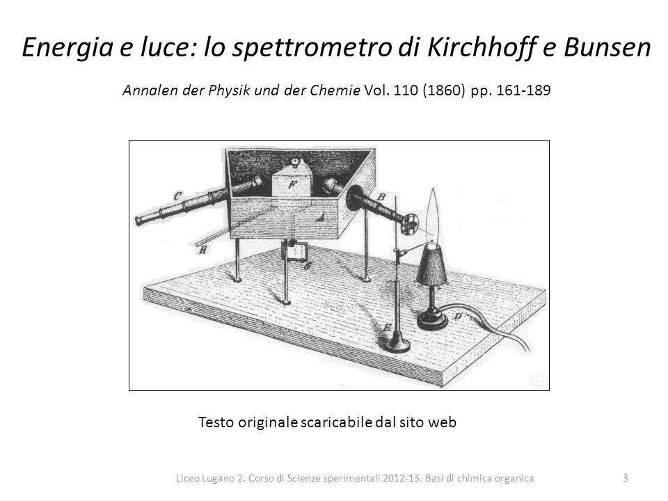 Liceo Lugano 2. Corso di Scienze sperimentali 2012-13. Basi di chimica organica3 Energia e luce: lo spettrometro di Kirchhoff e Bunsen Annalen der Phy