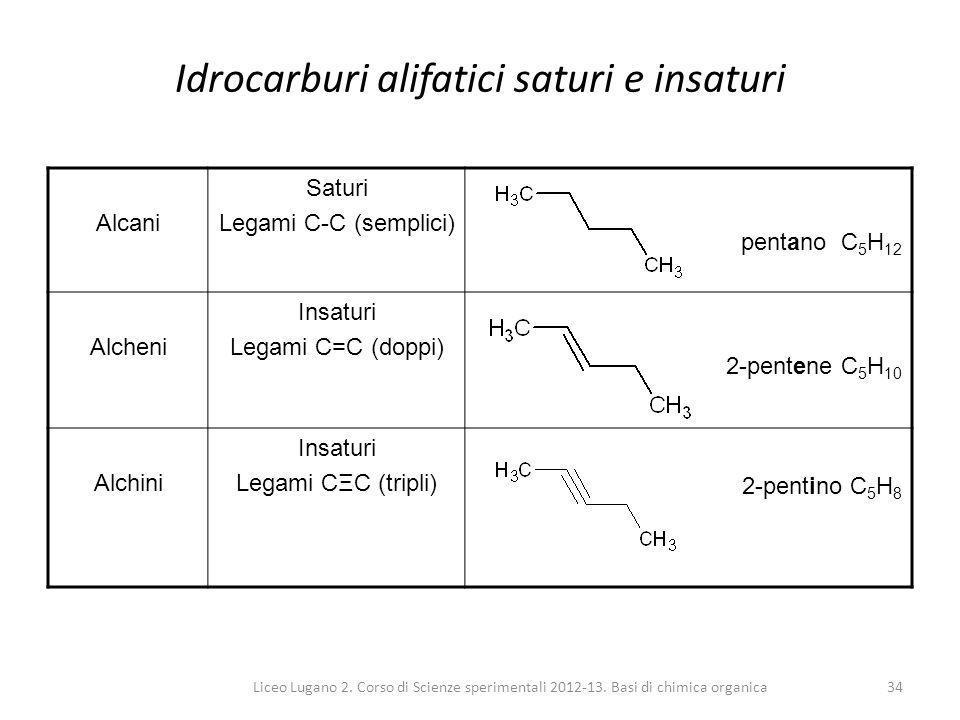 Liceo Lugano 2. Corso di Scienze sperimentali 2012-13. Basi di chimica organica34 Idrocarburi alifatici saturi e insaturi Alcani Saturi Legami C-C (se