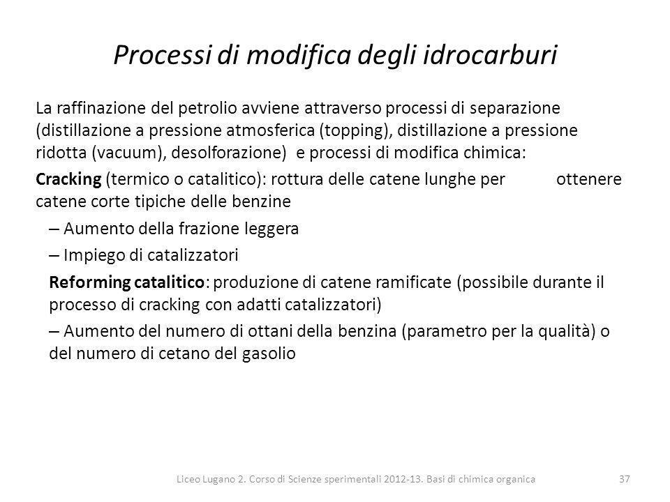 Liceo Lugano 2. Corso di Scienze sperimentali 2012-13. Basi di chimica organica37 Processi di modifica degli idrocarburi La raffinazione del petrolio