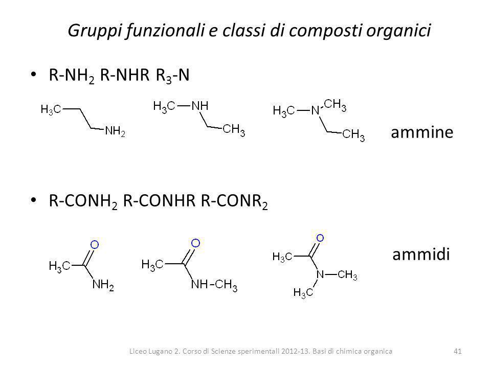 Liceo Lugano 2. Corso di Scienze sperimentali 2012-13. Basi di chimica organica41 Gruppi funzionali e classi di composti organici R-NH 2 R-NHR R 3 -N
