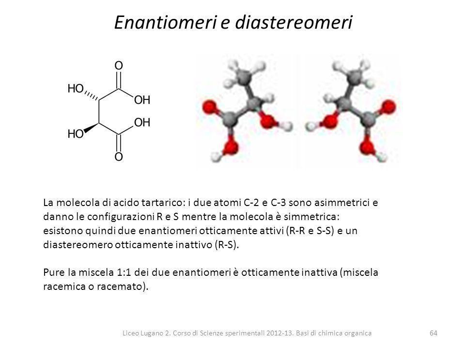 Liceo Lugano 2. Corso di Scienze sperimentali 2012-13. Basi di chimica organica64 Enantiomeri e diastereomeri La molecola di acido tartarico: i due at