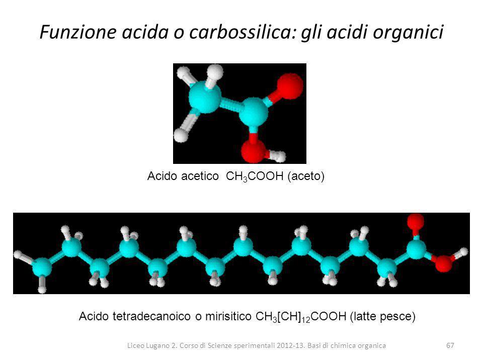 Liceo Lugano 2. Corso di Scienze sperimentali 2012-13. Basi di chimica organica67 Funzione acida o carbossilica: gli acidi organici Acido acetico CH 3