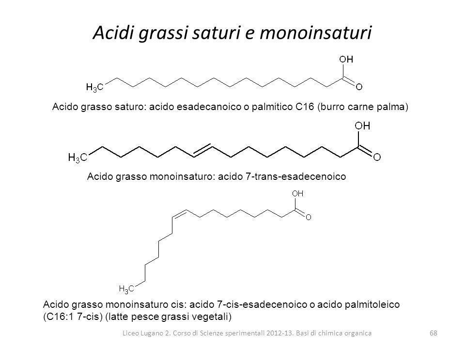 Liceo Lugano 2. Corso di Scienze sperimentali 2012-13. Basi di chimica organica68 Acidi grassi saturi e monoinsaturi Acido grasso saturo: acido esadec