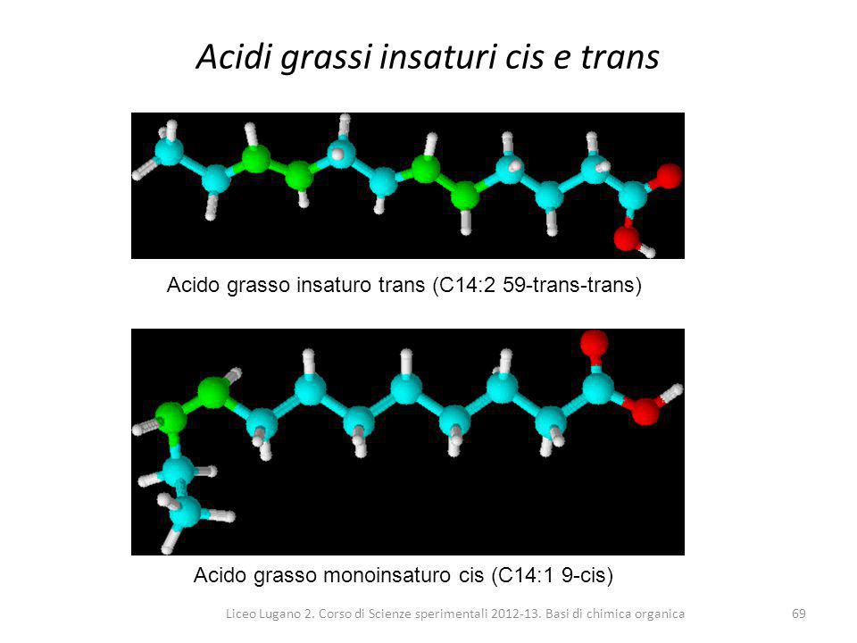 Liceo Lugano 2. Corso di Scienze sperimentali 2012-13. Basi di chimica organica69 Acidi grassi insaturi cis e trans Acido grasso insaturo trans (C14:2