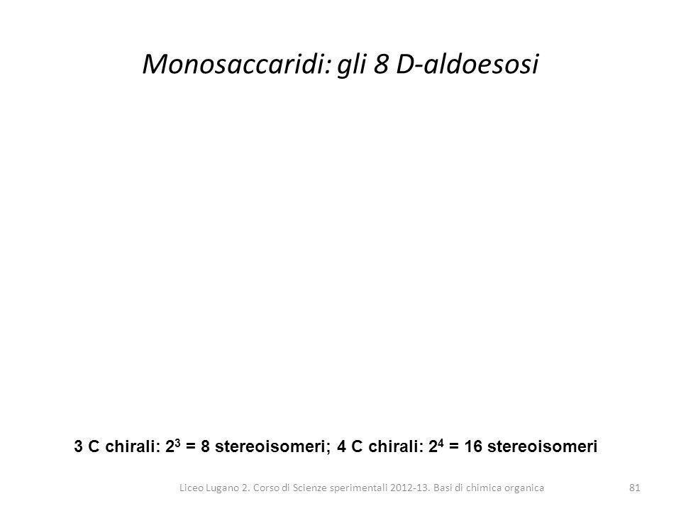 Liceo Lugano 2. Corso di Scienze sperimentali 2012-13. Basi di chimica organica81 Monosaccaridi: gli 8 D-aldoesosi 3 C chirali: 2 3 = 8 stereoisomeri;