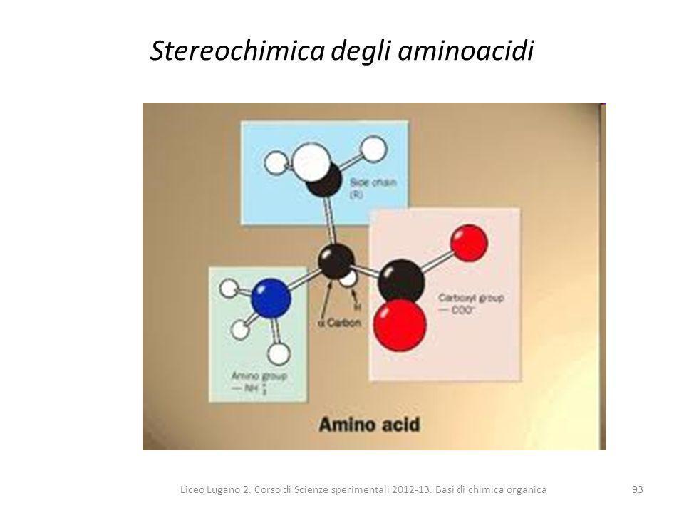 Liceo Lugano 2. Corso di Scienze sperimentali 2012-13. Basi di chimica organica93 Stereochimica degli aminoacidi