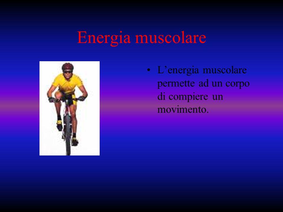 Energia muscolare L'energia muscolare permette ad un corpo di compiere un movimento.