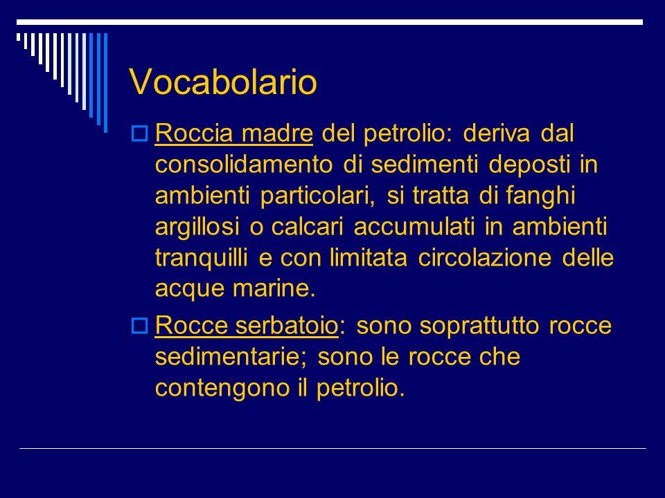 Vocabolario  Roccia madre del petrolio: deriva dal consolidamento di sedimenti deposti in ambienti particolari, si tratta di fanghi argillosi o calca