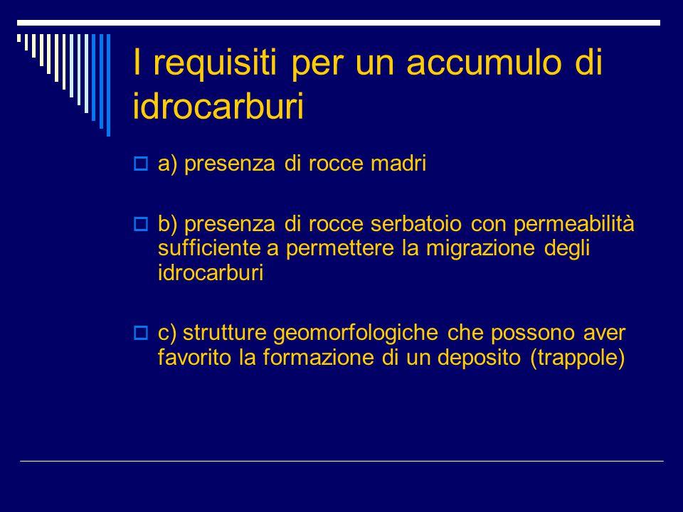 I requisiti per un accumulo di idrocarburi  a) presenza di rocce madri  b) presenza di rocce serbatoio con permeabilità sufficiente a permettere la