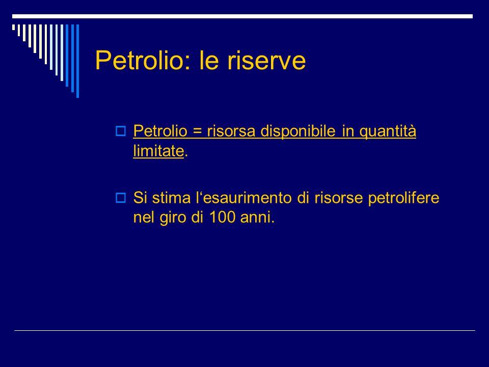 Petrolio: le riserve  Petrolio = risorsa disponibile in quantità limitate.  Si stima l'esaurimento di risorse petrolifere nel giro di 100 anni.