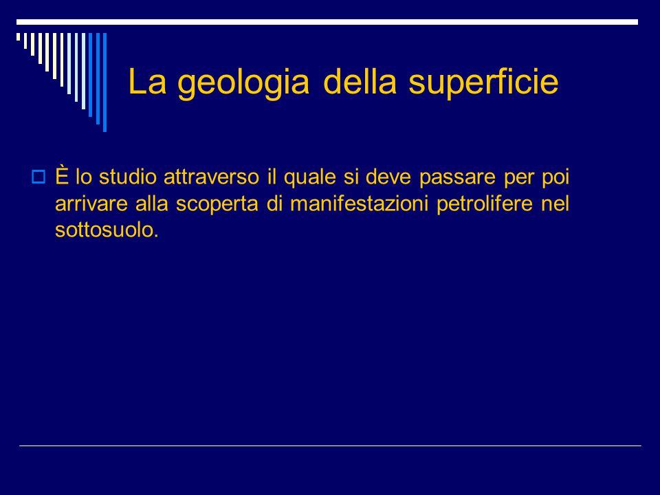 La geologia della superficie  È lo studio attraverso il quale si deve passare per poi arrivare alla scoperta di manifestazioni petrolifere nel sottos
