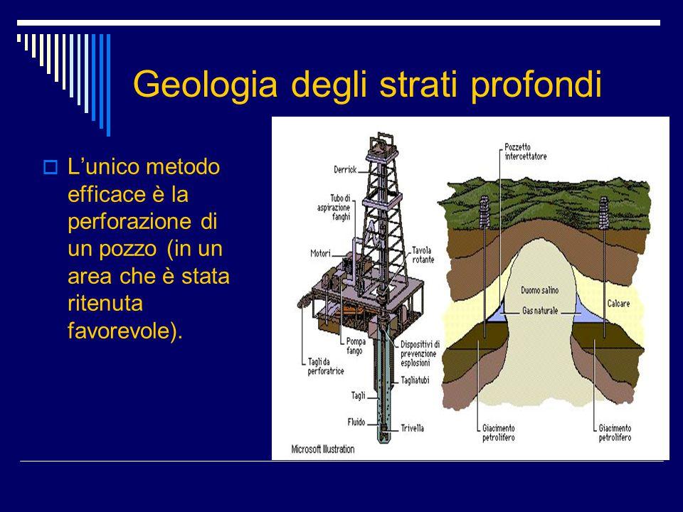 Geologia degli strati profondi  L'unico metodo efficace è la perforazione di un pozzo (in un area che è stata ritenuta favorevole).