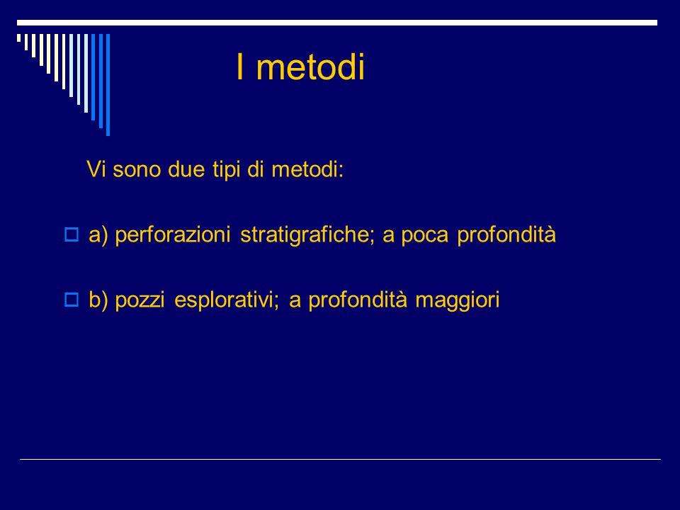 I metodi Vi sono due tipi di metodi:  a) perforazioni stratigrafiche; a poca profondità  b) pozzi esplorativi; a profondità maggiori