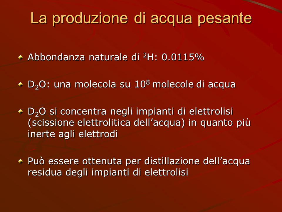 La produzione di acqua pesante Abbondanza naturale di 2 H: 0.0115% D 2 O: una molecola su 10 8 molecole di acqua D 2 O si concentra negli impianti di