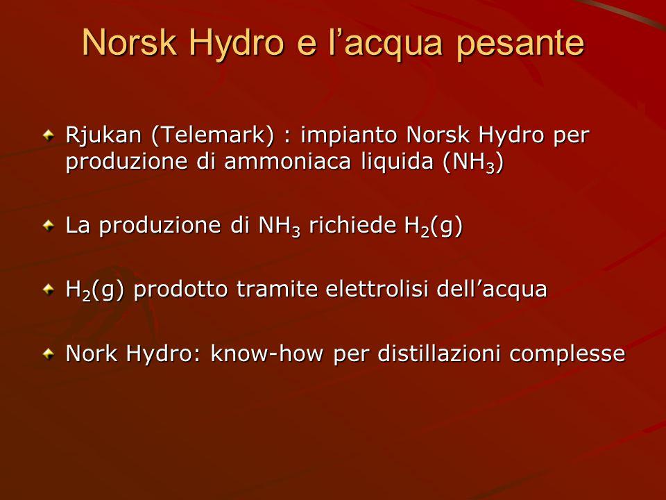 Norsk Hydro e l'acqua pesante Rjukan (Telemark) : impianto Norsk Hydro per produzione di ammoniaca liquida (NH 3 ) La produzione di NH 3 richiede H 2
